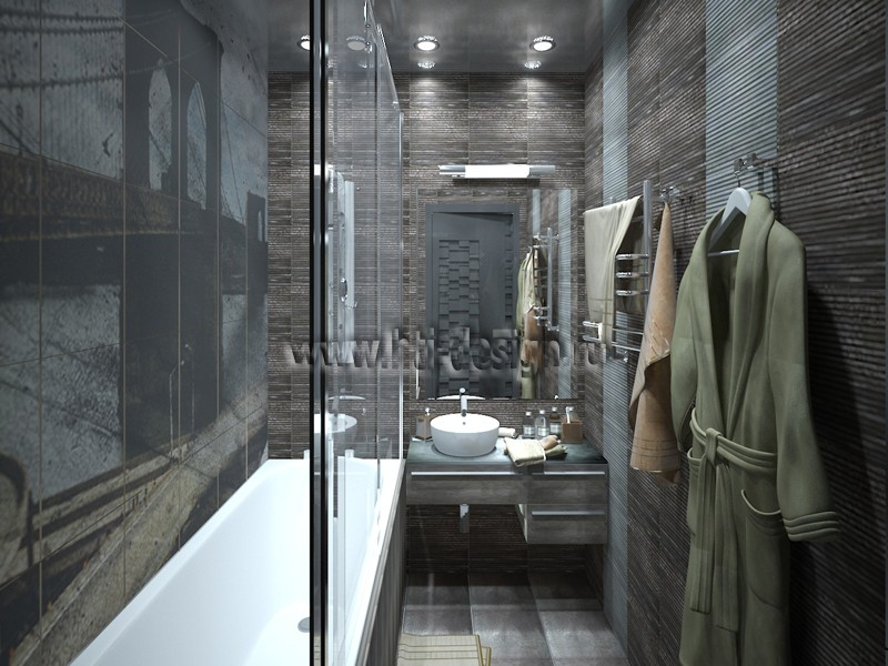 3d visualization of the project in the The Interior of a bathroom in the style of neobrutalizm 3d max, render vray of Дизайн-лаборатория Hi-Tech Interior