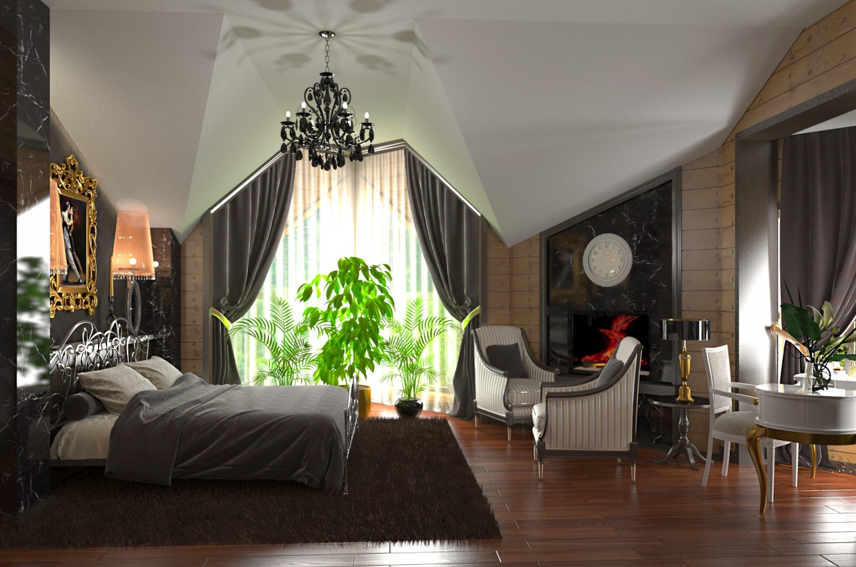 imagen de habitación en una cabaña de troncos cilindrada en 3d max corona render