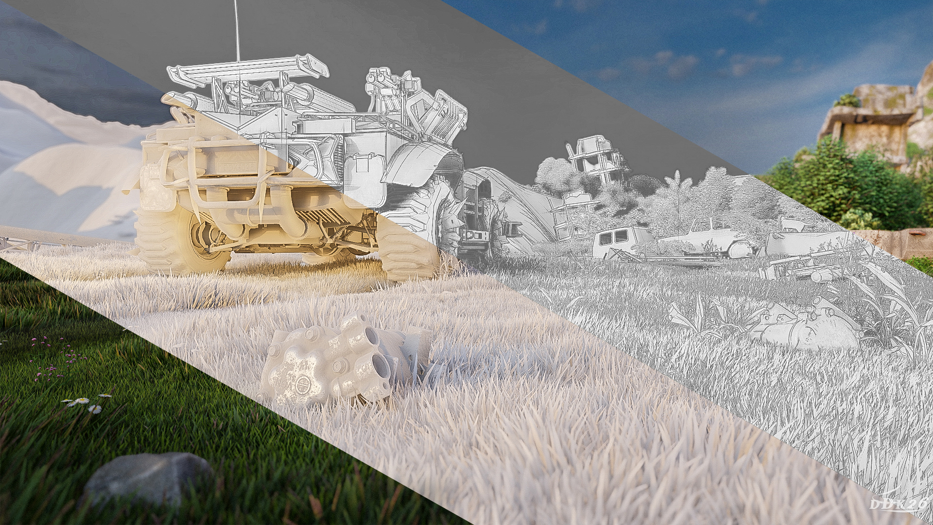 Picnic in the wasteland in 3d max Other image