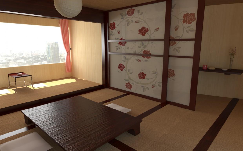 Интерьер, японский стиль в 3d max vray изображение