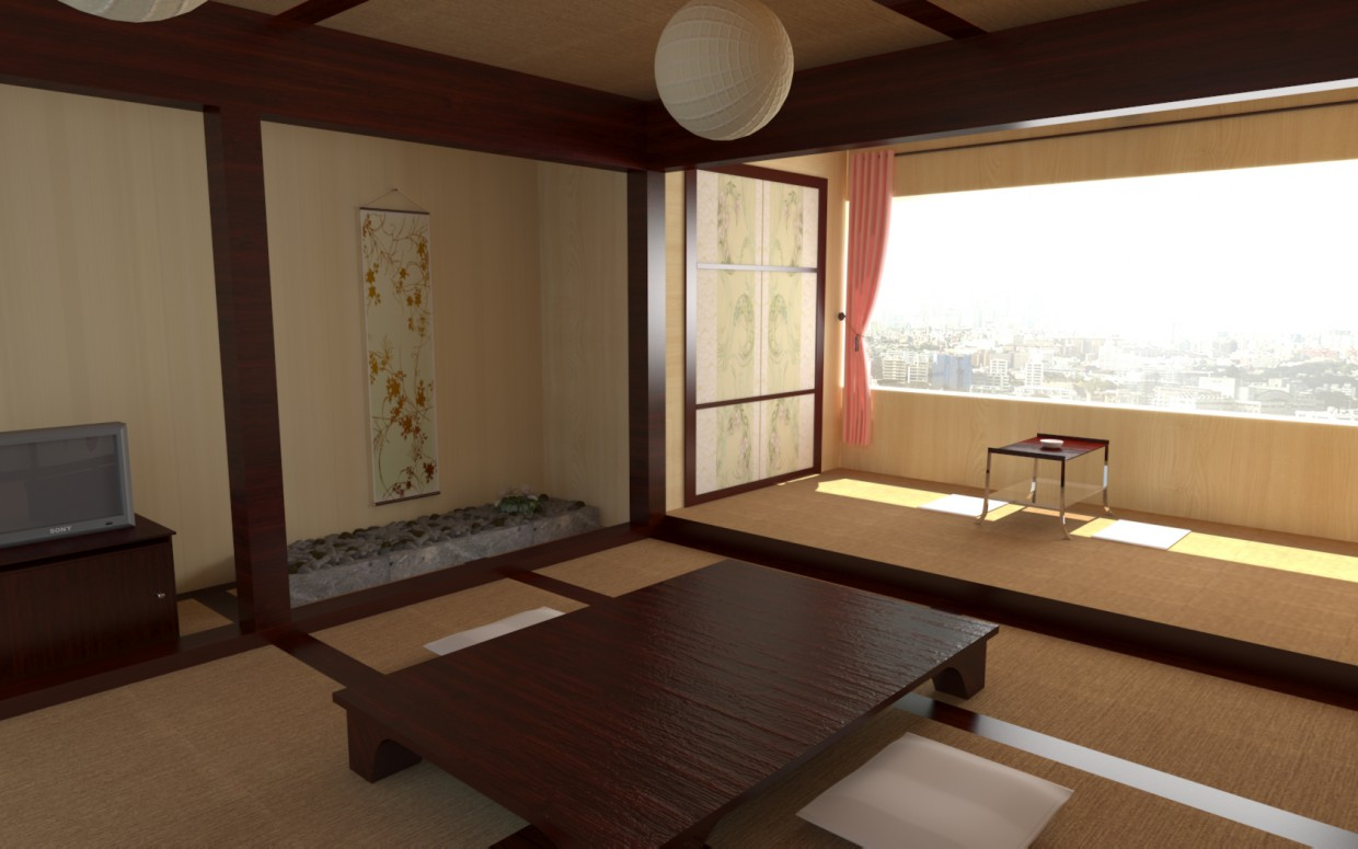 Interior, Japanese style in 3d max vray image
