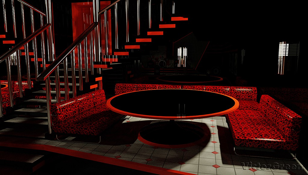 "The entrance to the dance floor ""Alternative Cafe in 3d max vray image"
