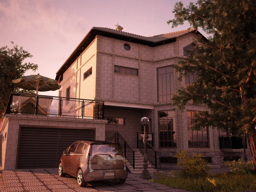 House in Tbilisi. Architect Sergo Shelestov in Cinema 4d vray image