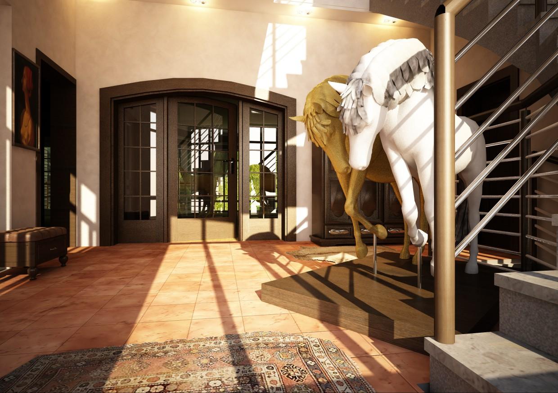 Будинок в Тбілісі. Архітектор Серго Шелестов в Cinema 4d vray зображення