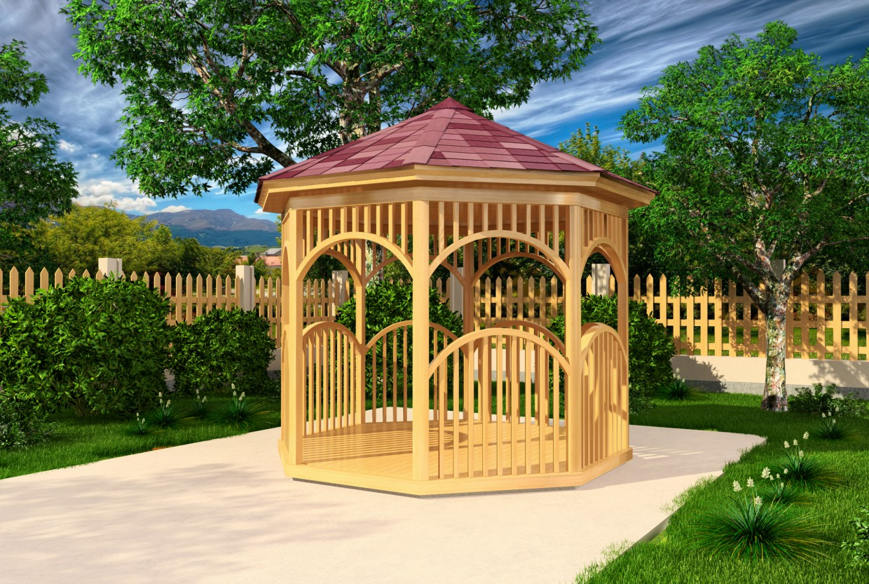 Simple round gazebo in 3d max vray image