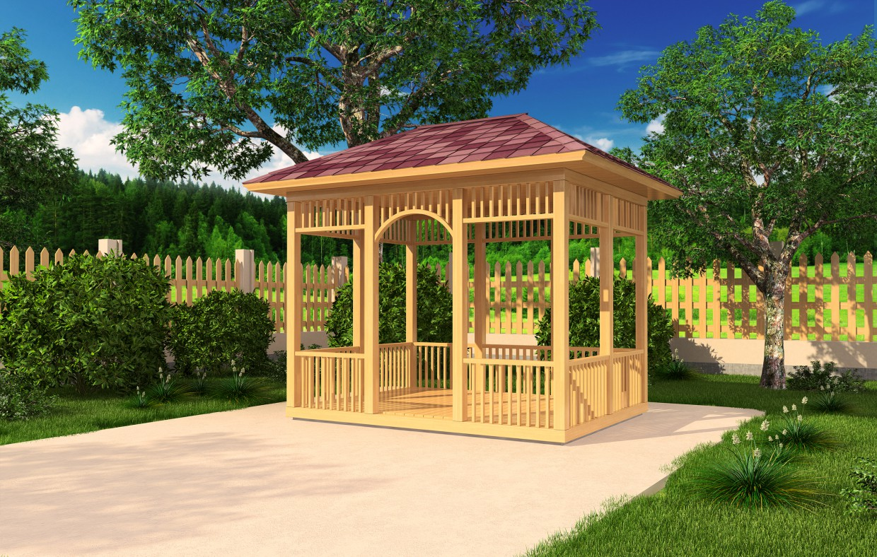 A simple rectangular gazebo.. in 3d max vray image