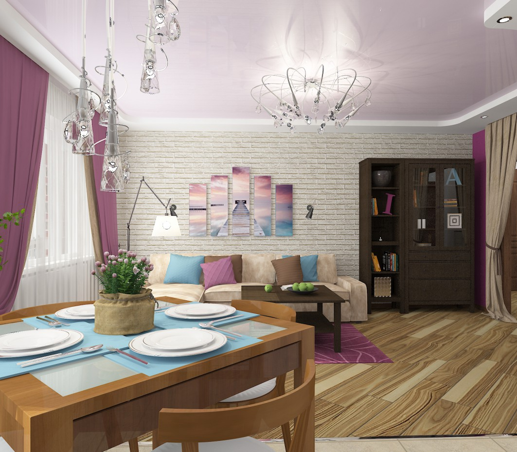Purple kitchen-living room in 3d max vray 2.0 image