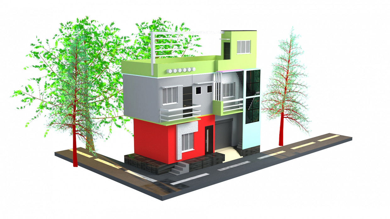 INDIAN STYLE STREET HOME DESING in 3d max vray 3.0 image