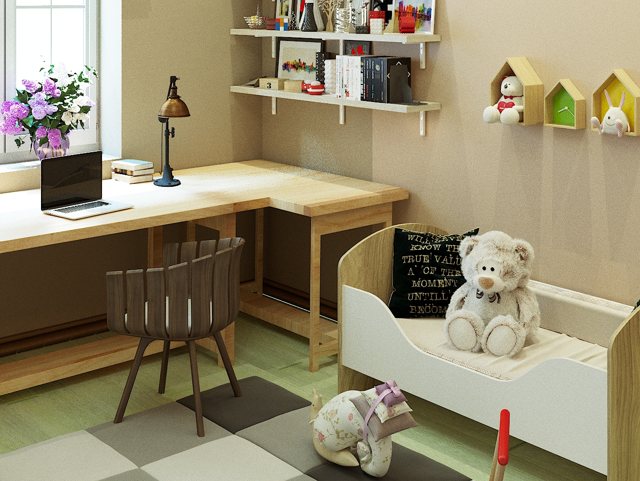 Children's for two girls 12 and 2 years. in 3d max corona render image