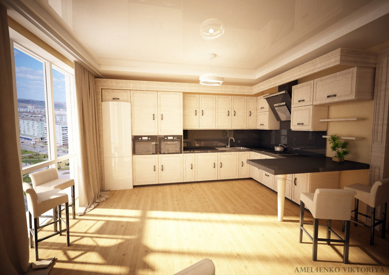Solar kitchen in Cinema 4d vray image