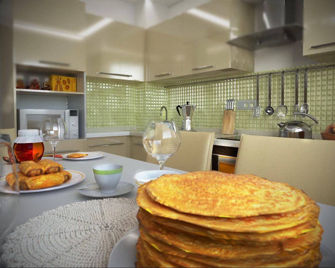 One bedroom apartment in Tver. Kitchen in Cinema 4d corona render image