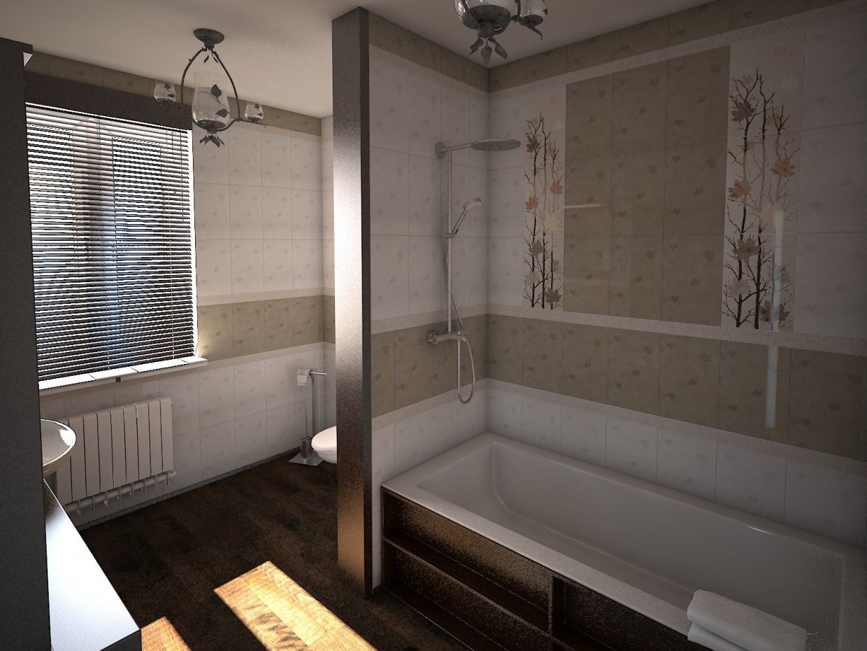 Ванная с плиткой Гайд Парк в 3d max vray изображение