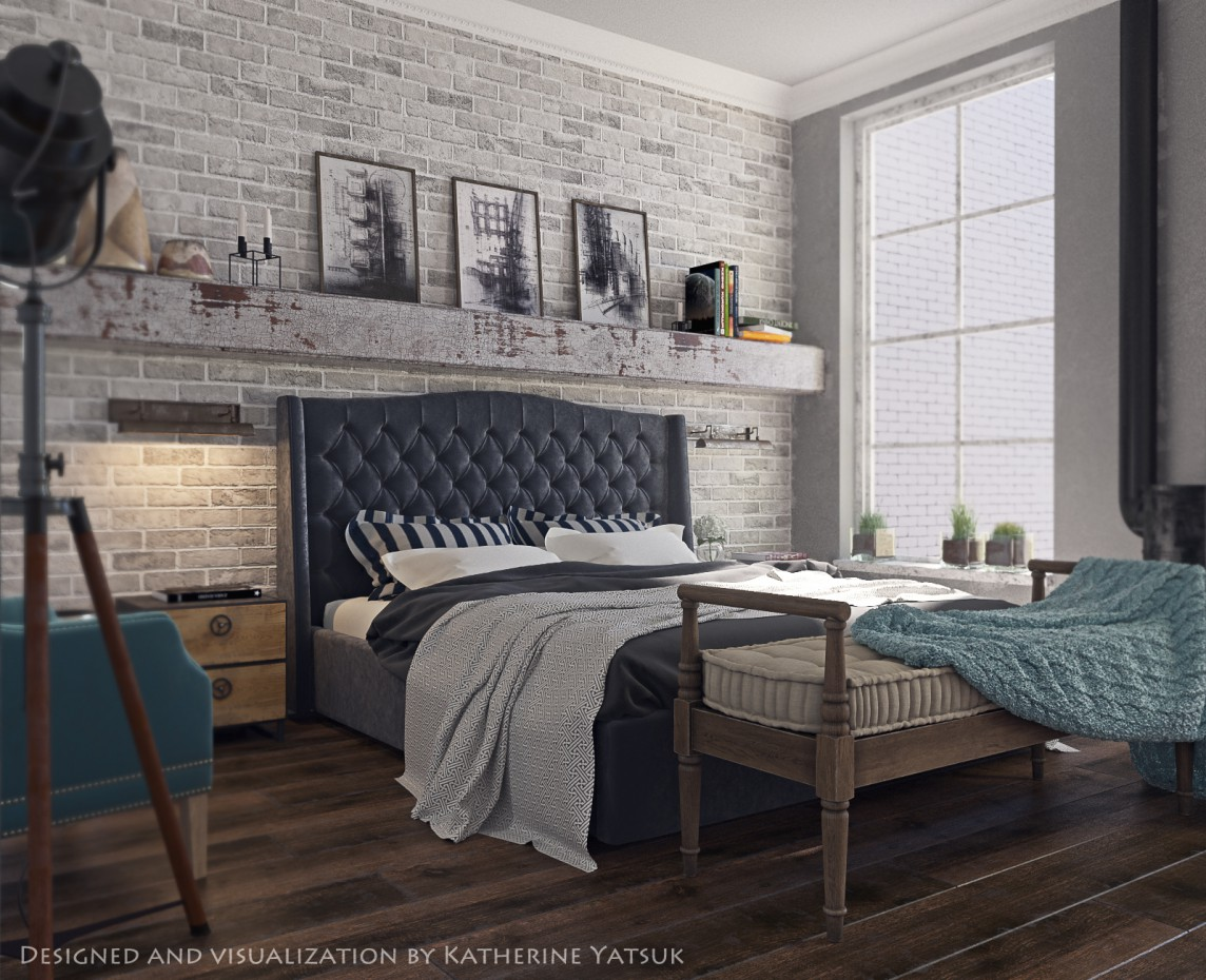 Bedroom loft в 3d max corona render изображение