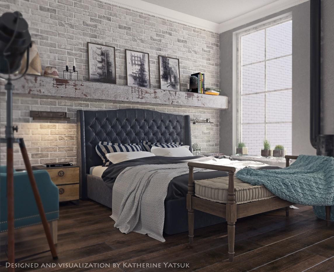 3d визуализация проекта Bedroom loft в 3d max, рендер corona render от Ashera