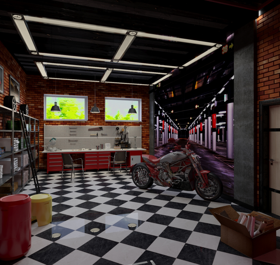 Car Garage Loft Retro Style: Proyecto De Diseño De Garaje Visualización Y Diseño 3D