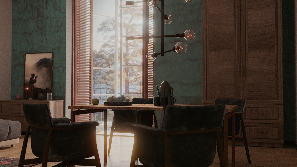 Room with balcony. in Blender cycles render image