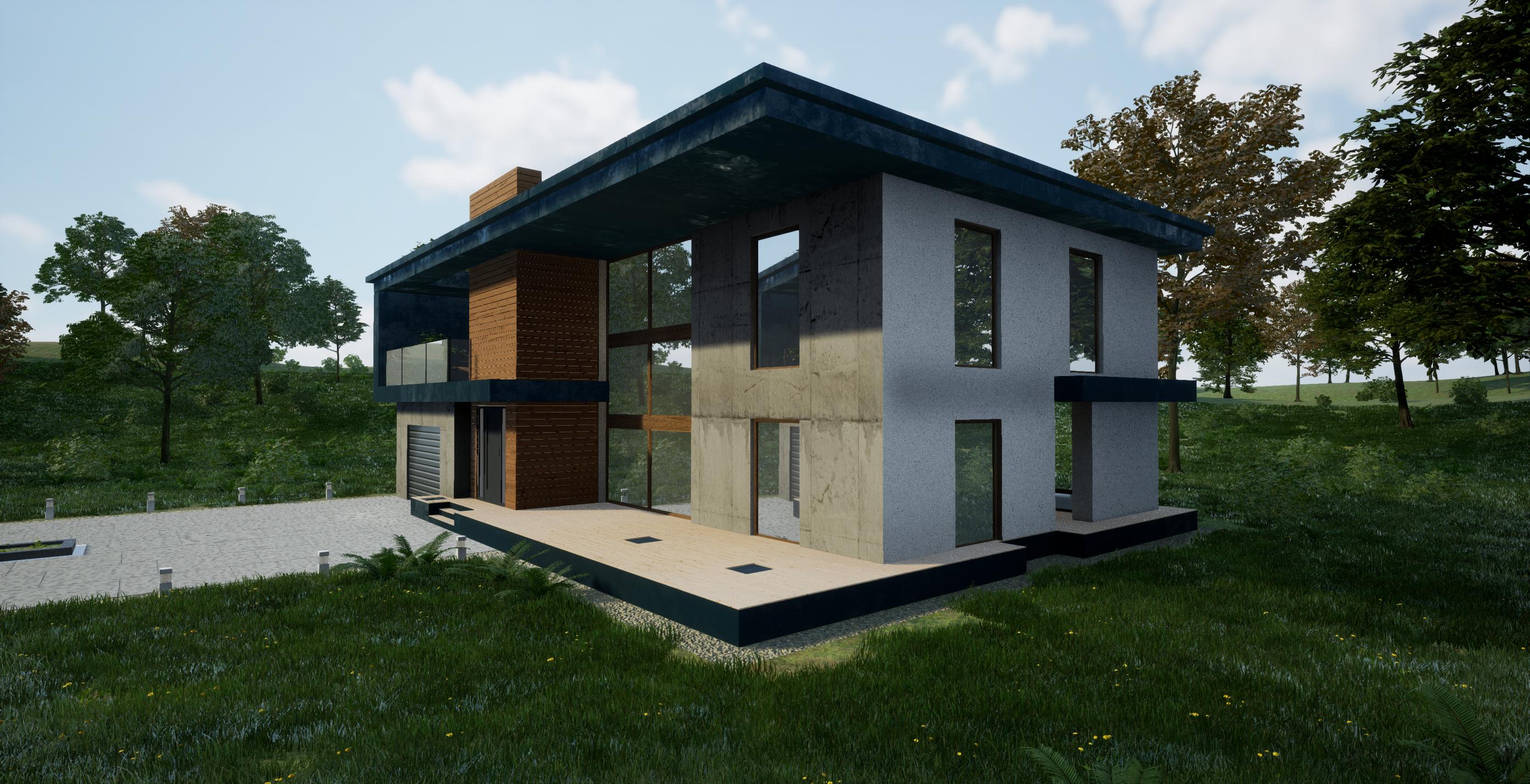 यूई 4 के साथ वास्तु दृश्य - समर हाउस 3d max Other में प्रस्तुत छवि