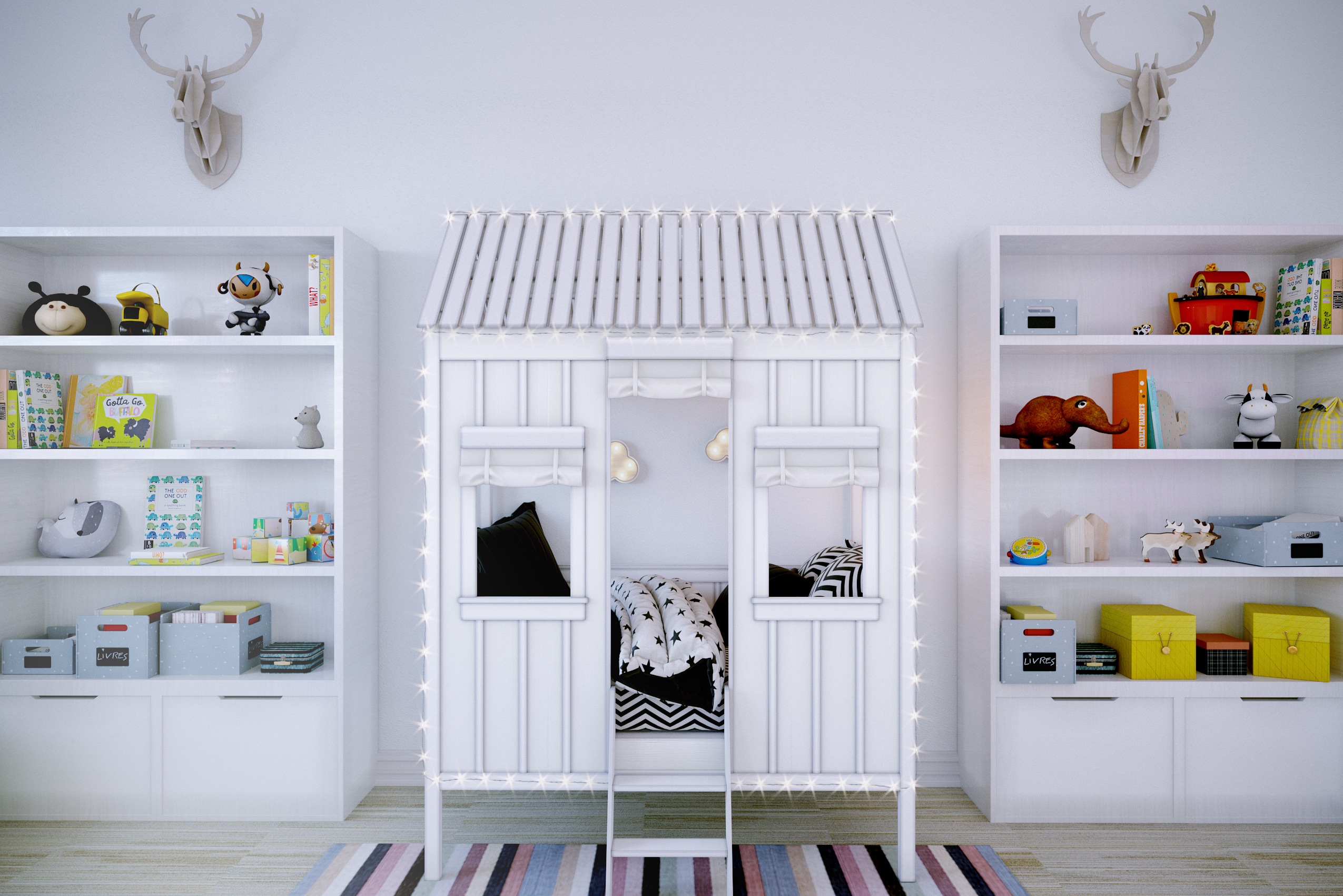 imagen de Habitación grande para niños en 3d max corona render