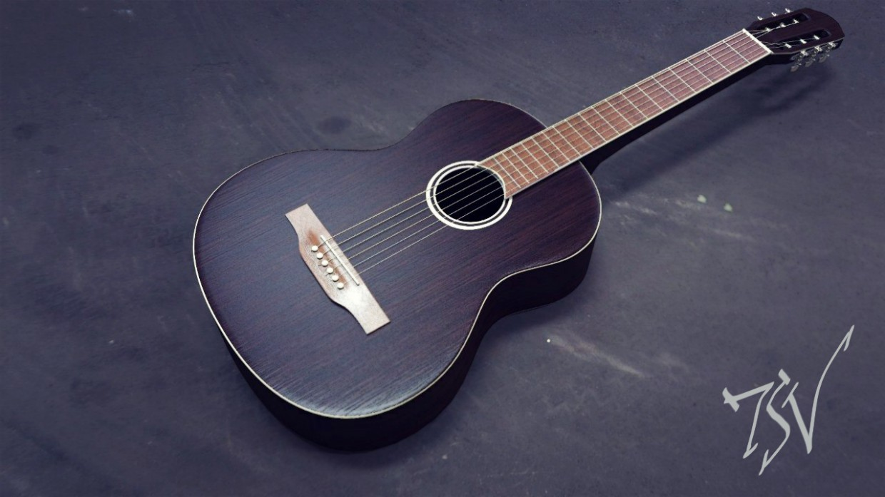 3D model of a guitar in Maya vray image