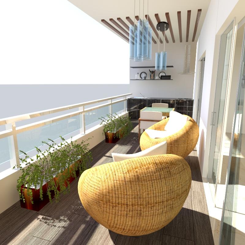 visualización 3D del proyecto en el terraza balcon Bermudez 3d max render mental ray shio