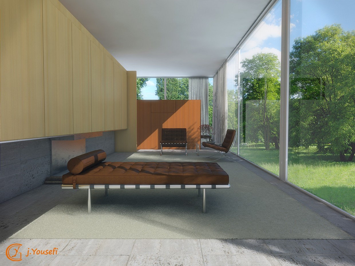 House Farnsworth  in  3d max   vray  image