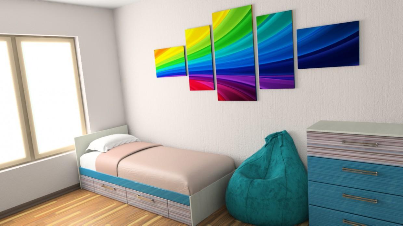 imagen de habitación de los niños (2 ° piso, ático) en 3d max vray 2.5