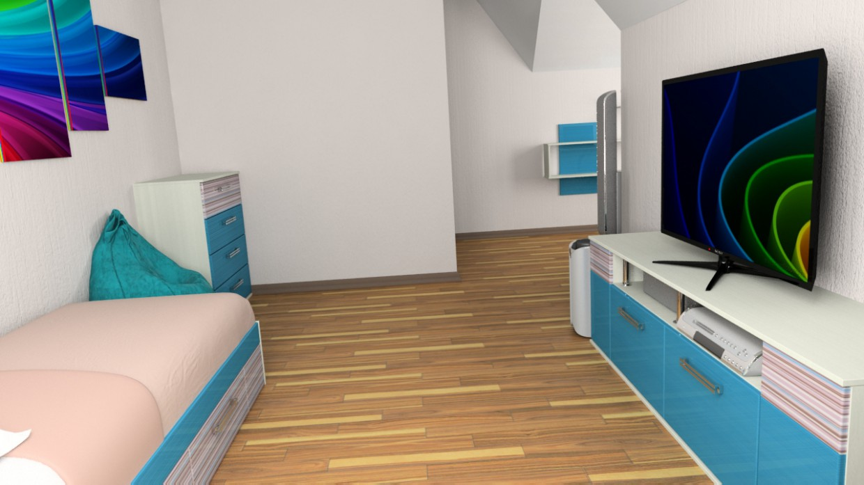 Children's room (2nd floor, attic) in 3d max vray 2.5 image