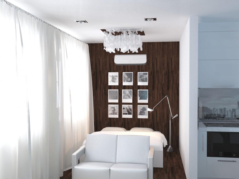 visualización 3D del proyecto en el Apartamento de una habitación 3d max render vray SeWAA