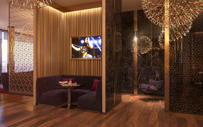 imagen de zona de salón en 3d max corona render