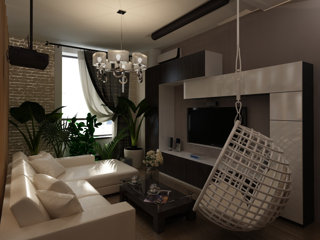 Zoning: Living Room, Kitchen in 3d max vray image