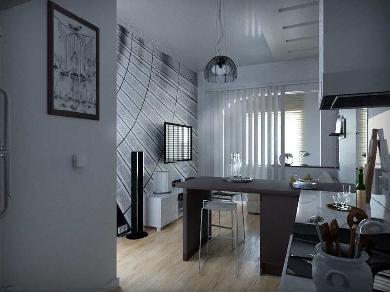 Apartment with optical illusions and ... floor lamp-dog. in Cinema 4d corona render image