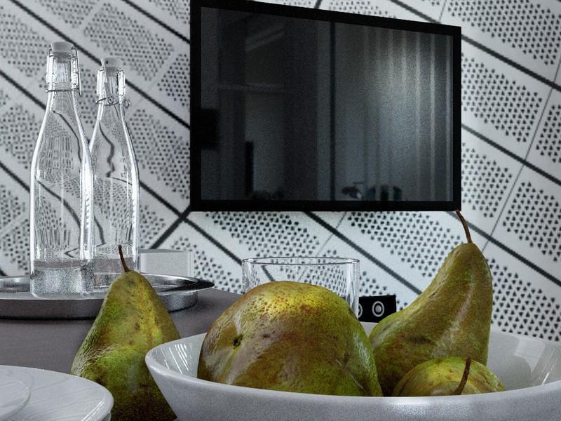 imagen de Apartamento con ilusiones ópticas y ... lámpara de pie-perro. en Cinema 4d corona render
