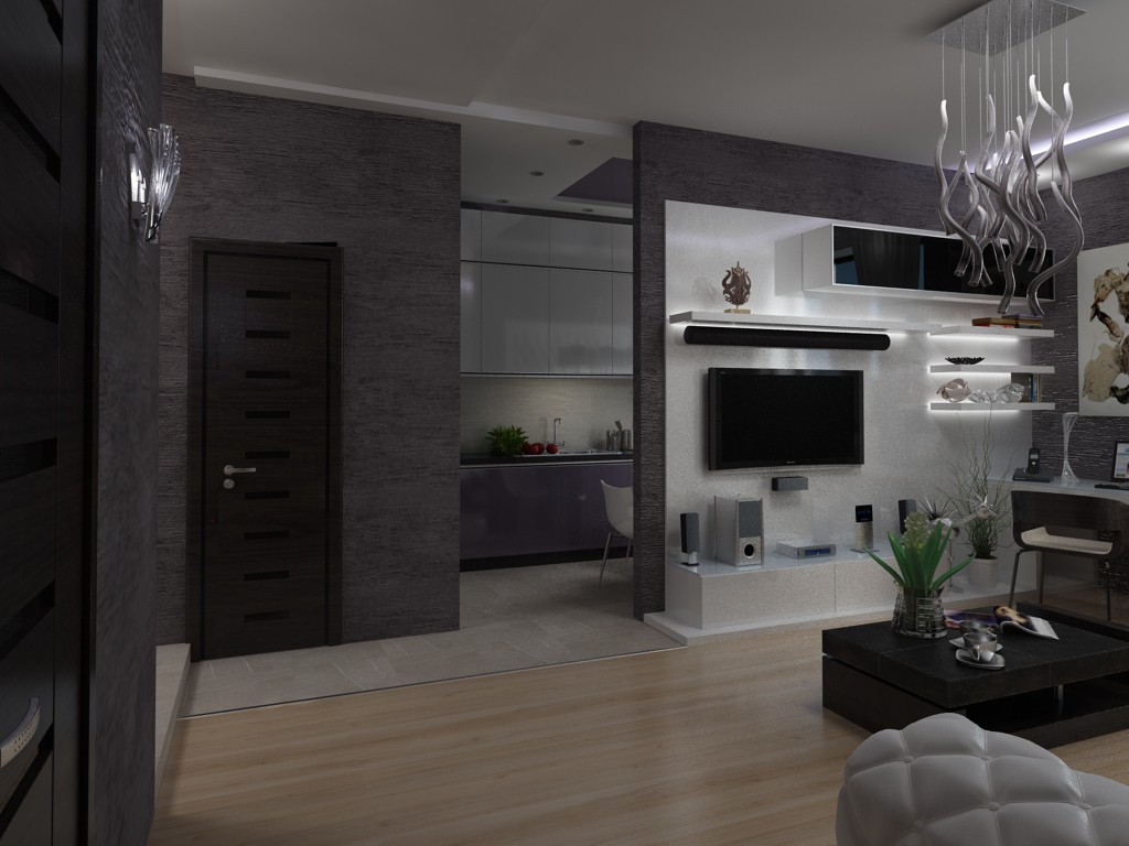 Living room-kitchen. space zoning in 3d max vray image