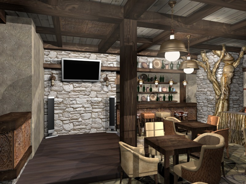 The Chalet-style bar in 3d max Other image
