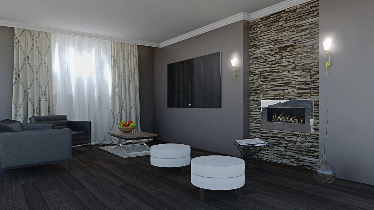 3d visualization of the project in the Salon 3d max, render mental ray of bilal mezzari