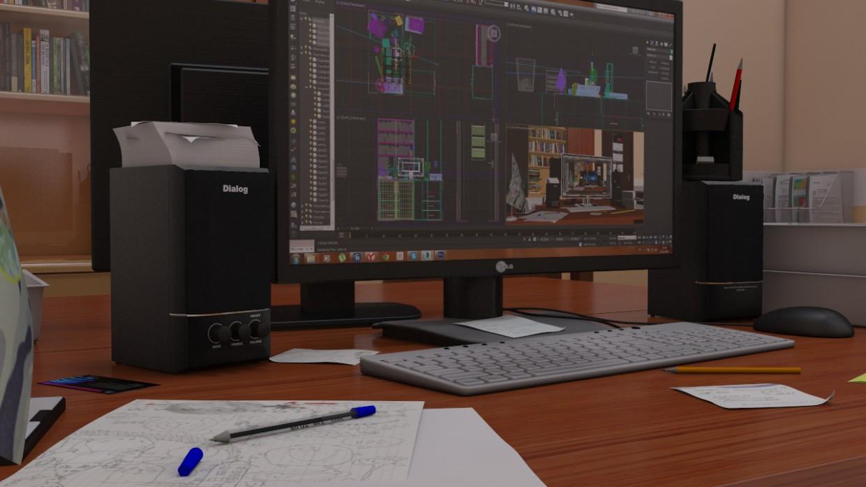 Кабинет в 3d max vray 2.0 изображение