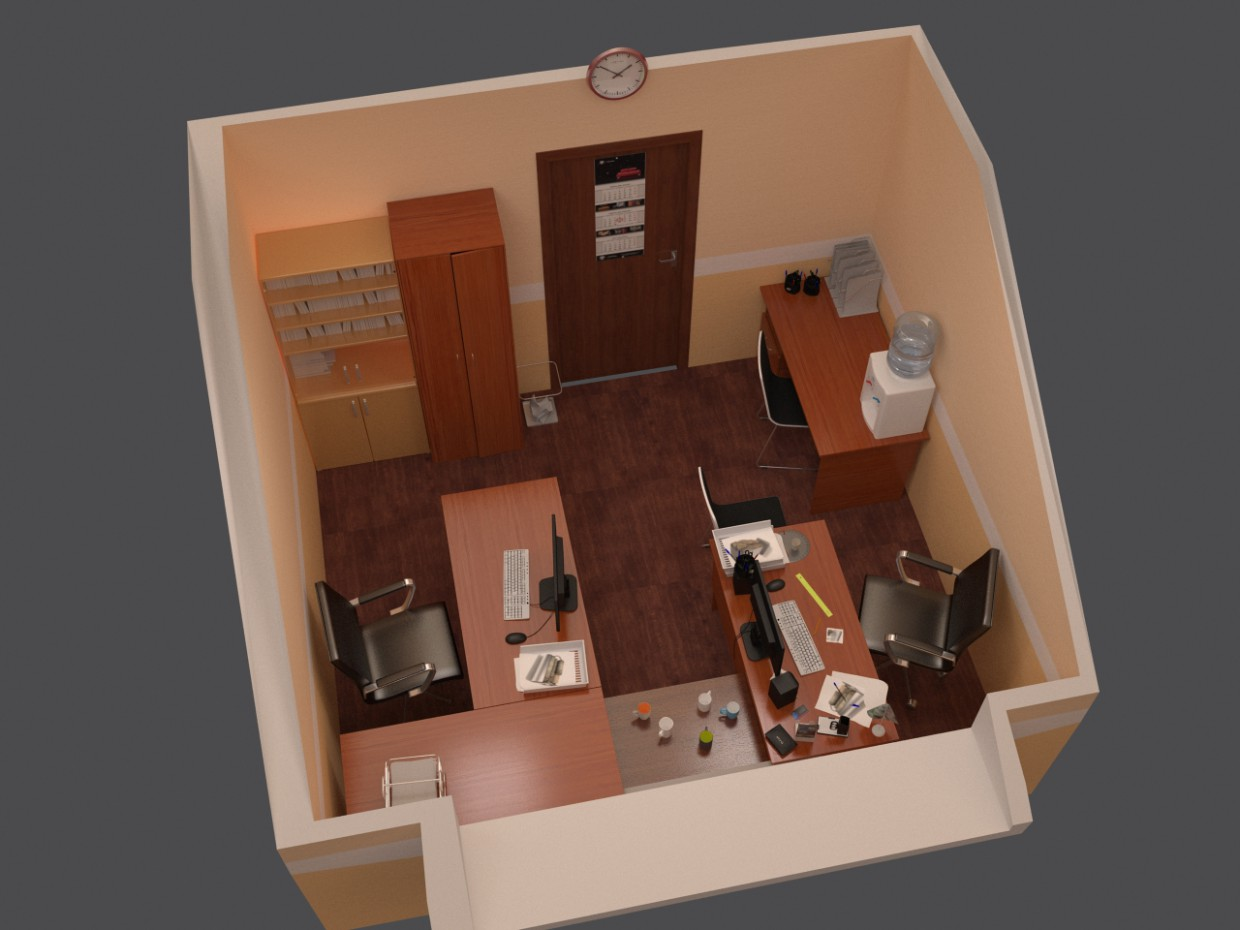 Office room in 3d max vray 2.0 image
