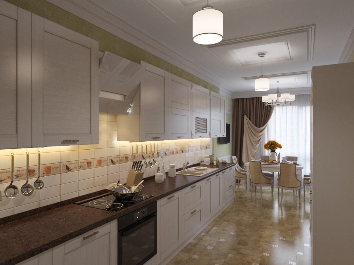3d visualization of the project in the Kitchen 3d max, render corona render of winter