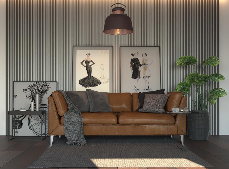 सोफा 3d max corona render में प्रस्तुत छवि