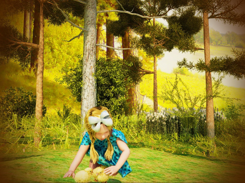 Girl with chickens в Cinema 4d vray изображение