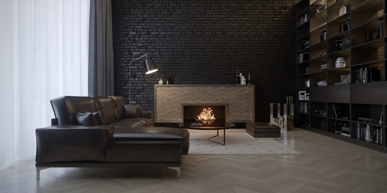 Loft with fireplace in 3d max corona render image