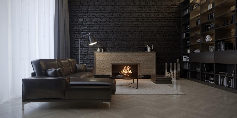 Visualisation 3D Loft avec cheminée dans le style Art-déco