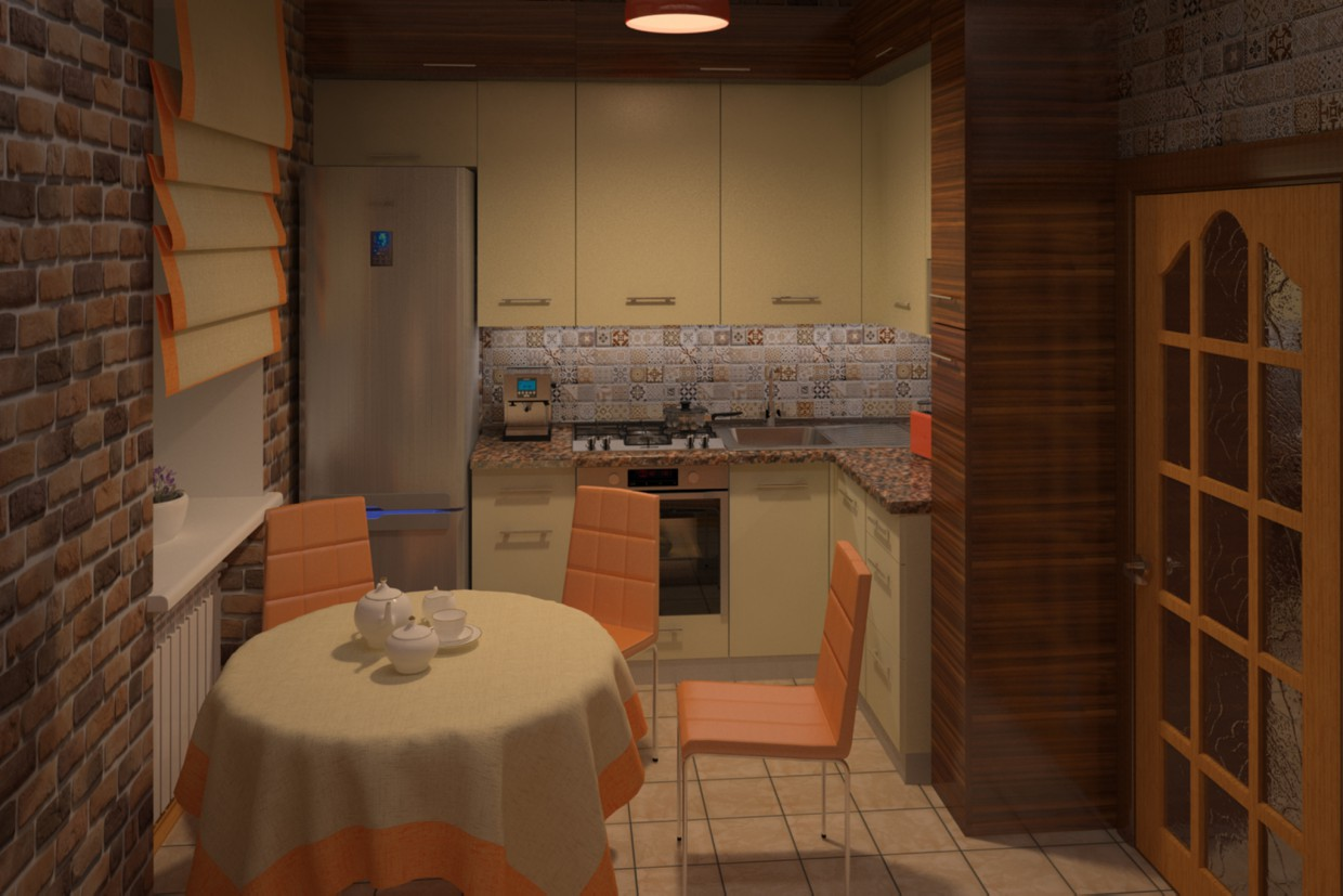 3d visualization of the project in the Kitchen 3d max, render vray of Ahimas