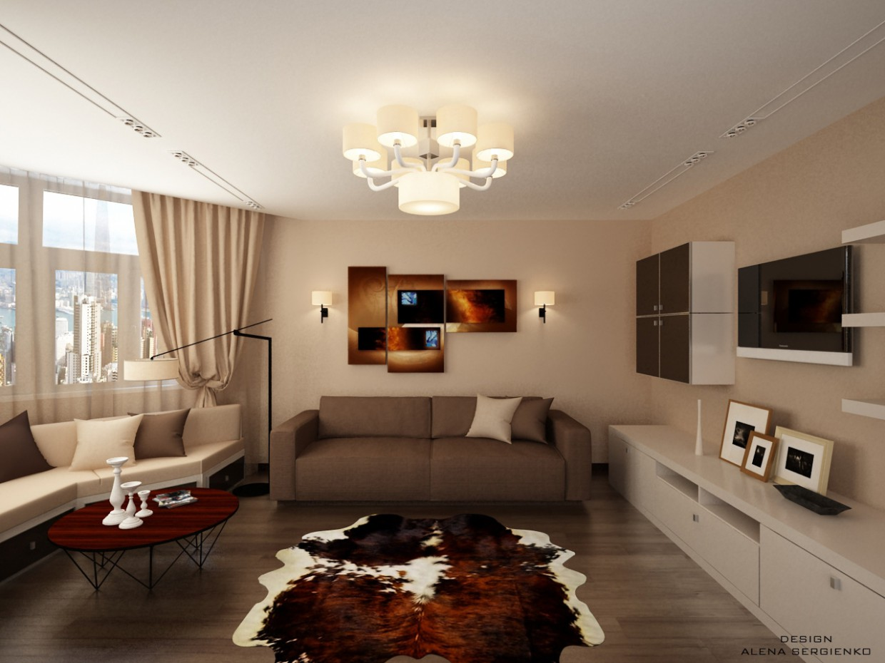 3d visualization of the project in the Lounge with bay window 3d max, render vray of Элена