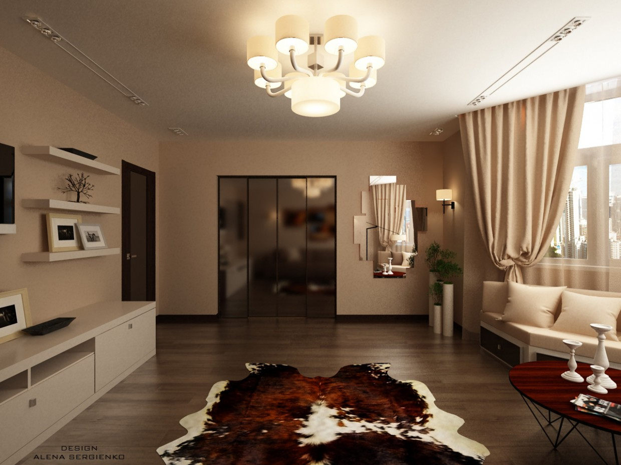 Lounge with bay window  in  3d max   vray  image
