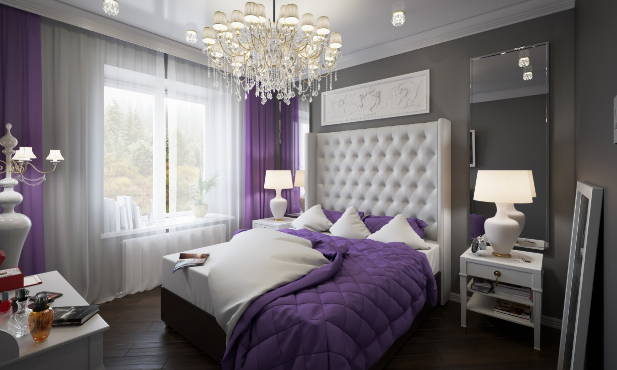 Bedroom in a country house by the river in Cinema 4d corona render image