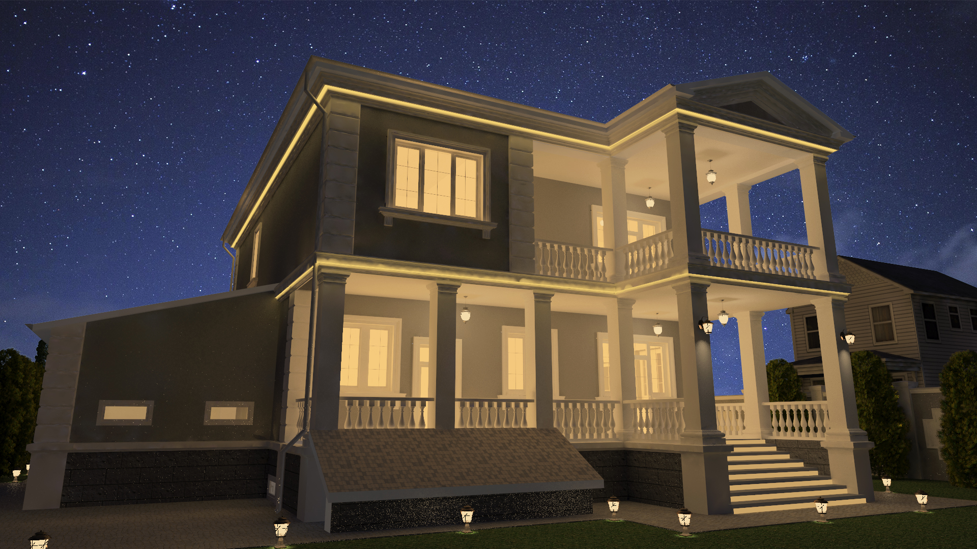 The project of the house in the classical style in 3d max vray 3.0 image