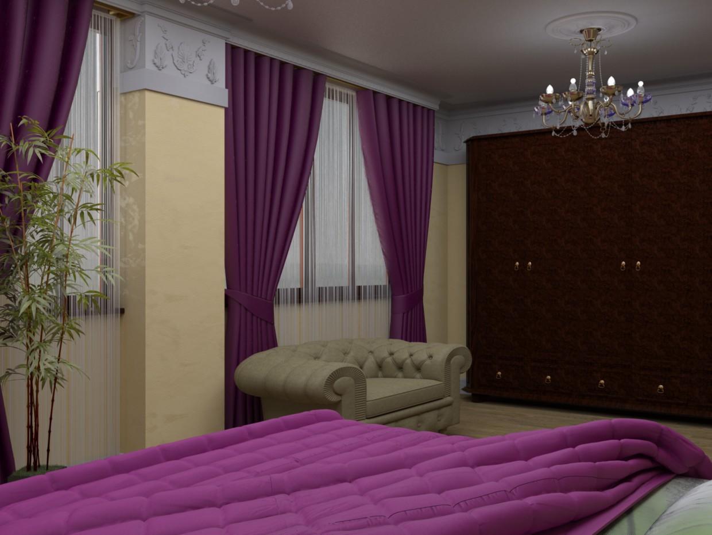visualización 3D del proyecto en el El dormitorio en el estilo libre 3d max render vray EHOT