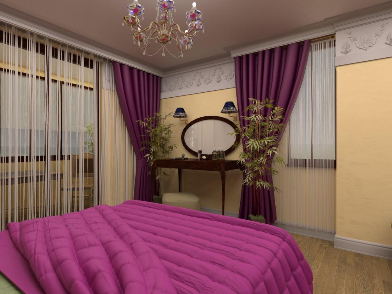 Спальня в свободном стиле в 3d max vray изображение