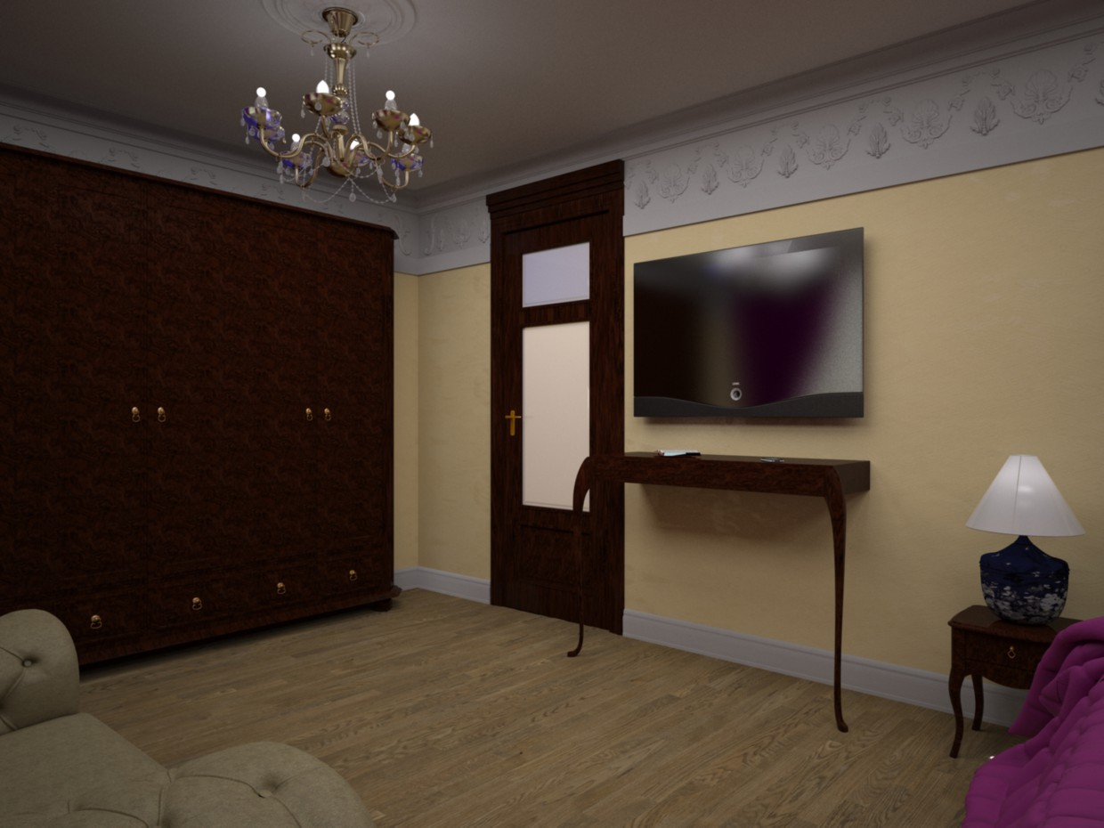 The bedroom in the free style in 3d max vray image